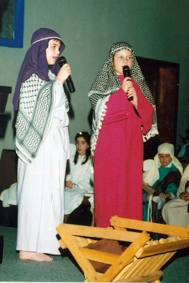 My daughter Rachel and a friend sing Elizabeth and Mary's song