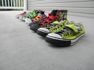 Note the closest pair in the photo…his prized one of a kind self-designed Converse!
