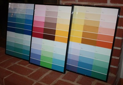 Colorful paint chips + frames = artful dry erase boards for calendars and to-do lists