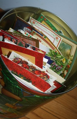 Popcorn tins make great storage containers for treasured Christmas cards