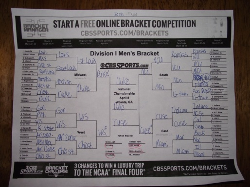 "The kids fill out multiple ""Brackets"".  This is a ""fun"" one - meaning their favorite teams are winning!"
