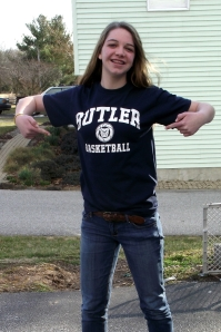 "Rachel - showing off her brand new ""Butler"" t-shirt!"