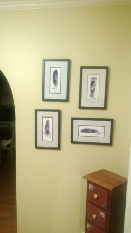 The perfect wall to show off our custom-framed bird paintings