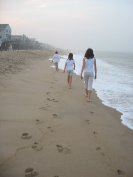 Footprints in the sand, in Bethany Beach, Delaware