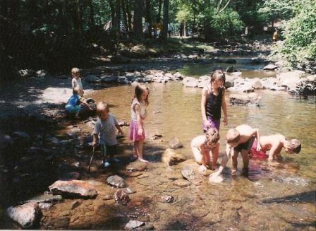 Playing in the stream, Caledonia State Park, 2002