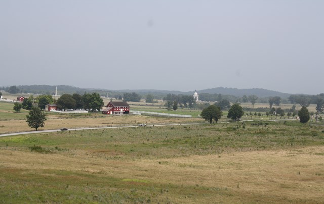 Gettysburg Battlefield Vista: The white monument in the center of the photo is the Pennsylvania Memorial
