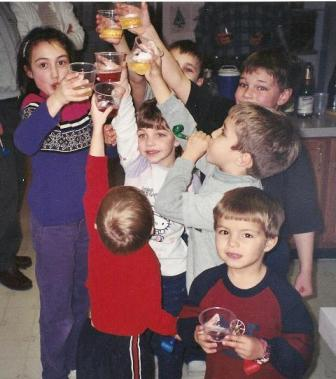 Ringing in 2004 with a sparkling apple cider toast (kids' countdown was at 9 pm!)