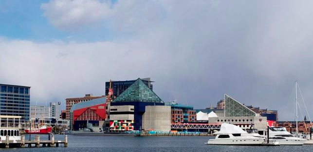 Baltimore's Inner Harbor: The colorful building in the center is the Baltimore Aquarium--an amazing place my family has loved visiting!