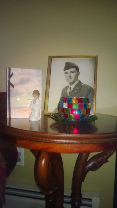 "Setting up a 'tribute table' for my father has been helpful. I can ""see"" him every day and more easily talk to him. I burn a tea light candle for him daily, and have decided to keep the table up for one year."