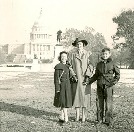 My mom, grandmother, and uncle on the National Mall in Washington, D.C. in 1953.