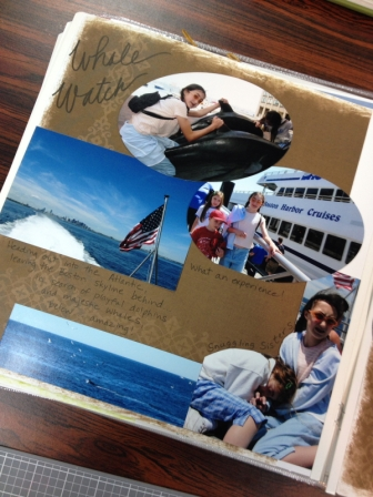 Even a scrapbook page featuring photos from a whale watch!