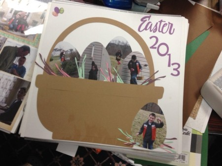What a creative Easter-themed page... love the photos trimmed into egg shapes.