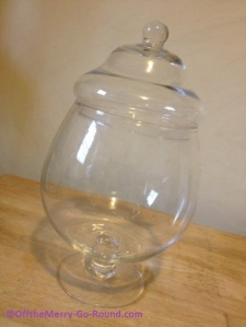 We found this beautifully-shaped glass container at TJ Maxx for about $10.