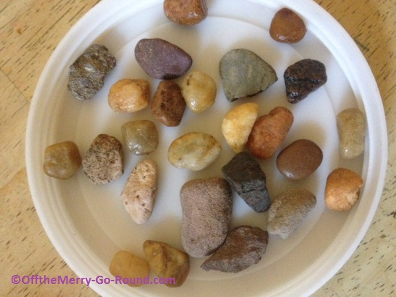 Set aside a few colorful rocks that catch your eye. Save them for decorative touches later.