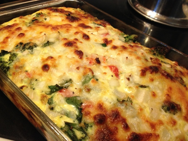 Frittata: This recently-made pan featured ham, spinach, red pepper and broccoli. Cheese sprinkled on top gives it a gorgeous browned top.